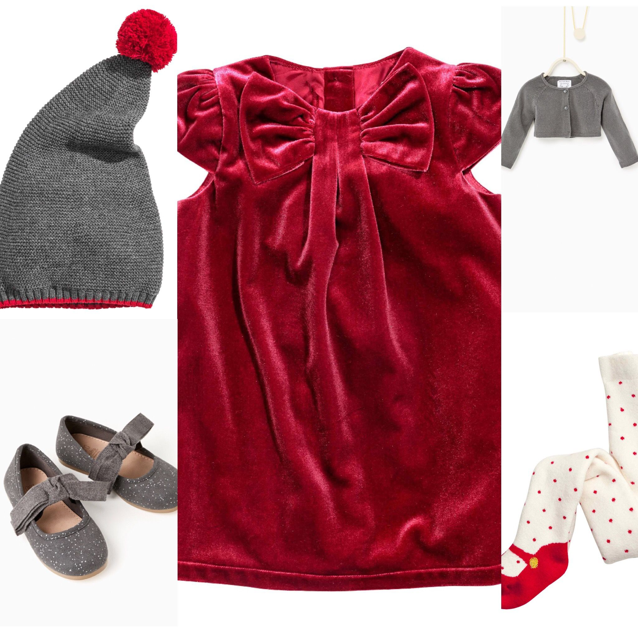 128cff0e8598a Baby girl Christmas outfit idea. H&M red velvet dress, knitted tights, grey  pompom hat. Zara ballet flats and short cardigan. 2016 fall collection.