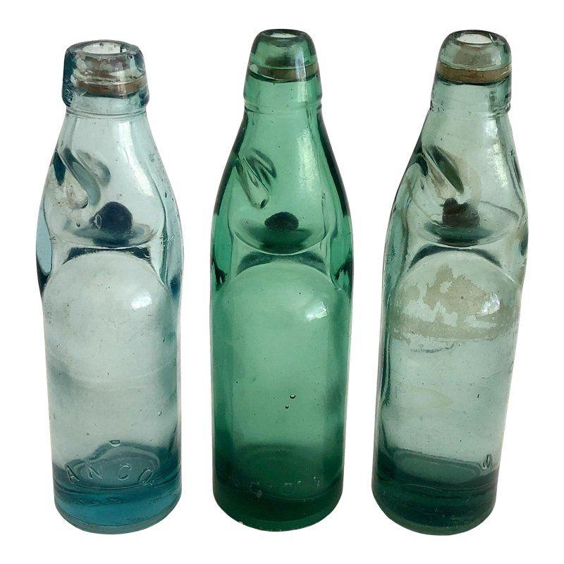 Vintage Codd Neck Soda Bottles W Marble Stoppers Set Of 3 Antique Bottles Vintage Jars Bottle