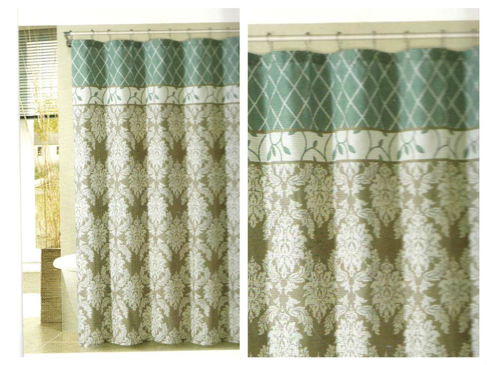 Comfort Bay Brookedale Blue Floral Embossed Fabric Shower Curtain