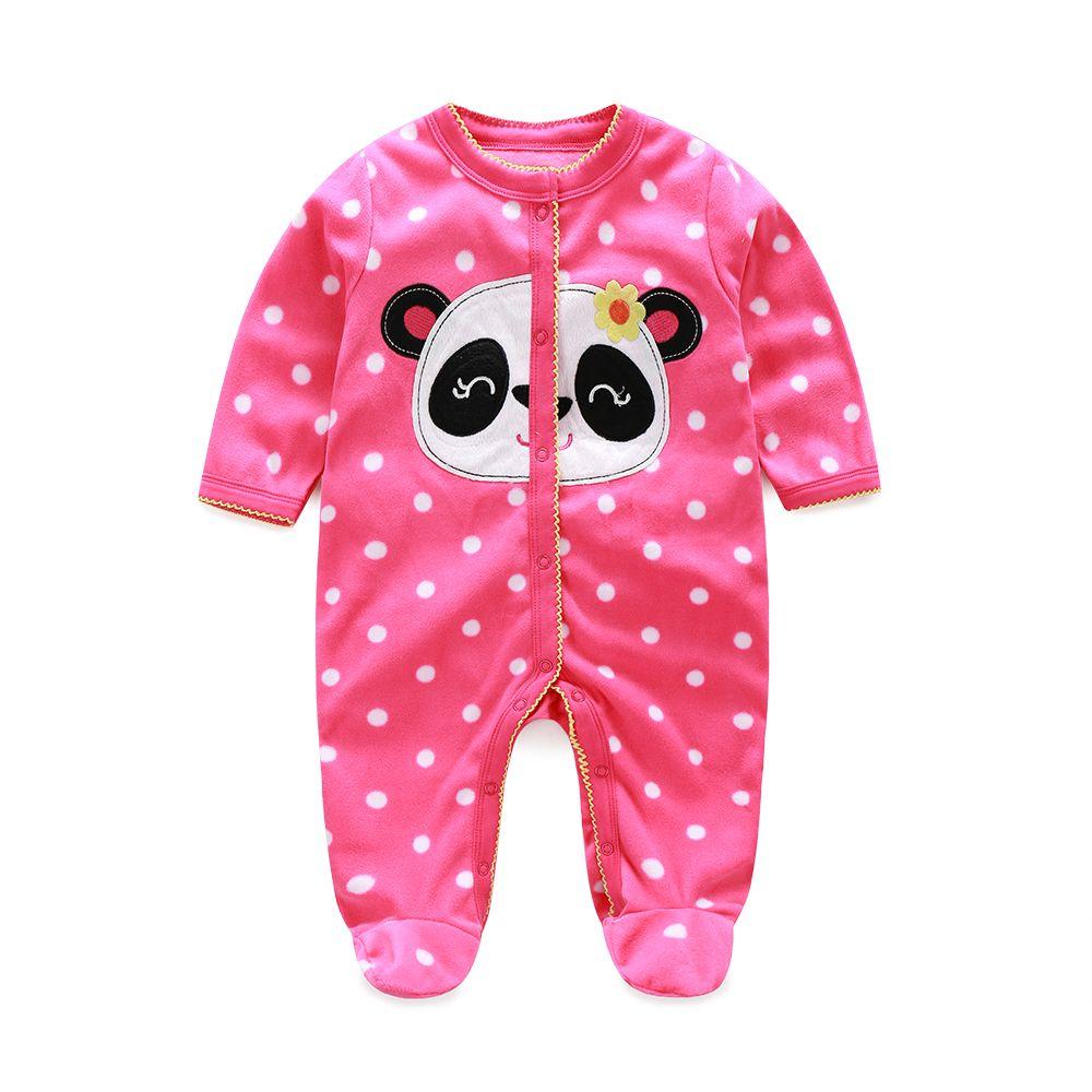 Fleece Baby Long Rompers Pajamas Panda Polka Dot Newborn Sleepwear