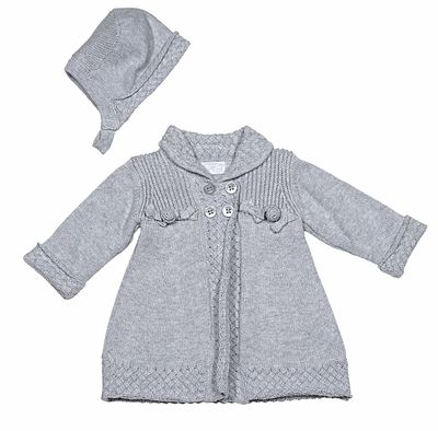 2ecf291e6 Mayoral Infant Girls Sweater Knit Coat with Matching Hat - Grey ...