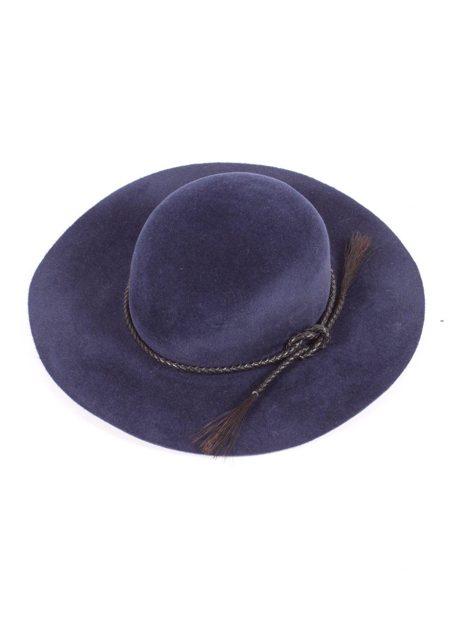 36f56e8ac47 Ryan Roche Angora Wool Hat with Leather Band - Indigo Badass