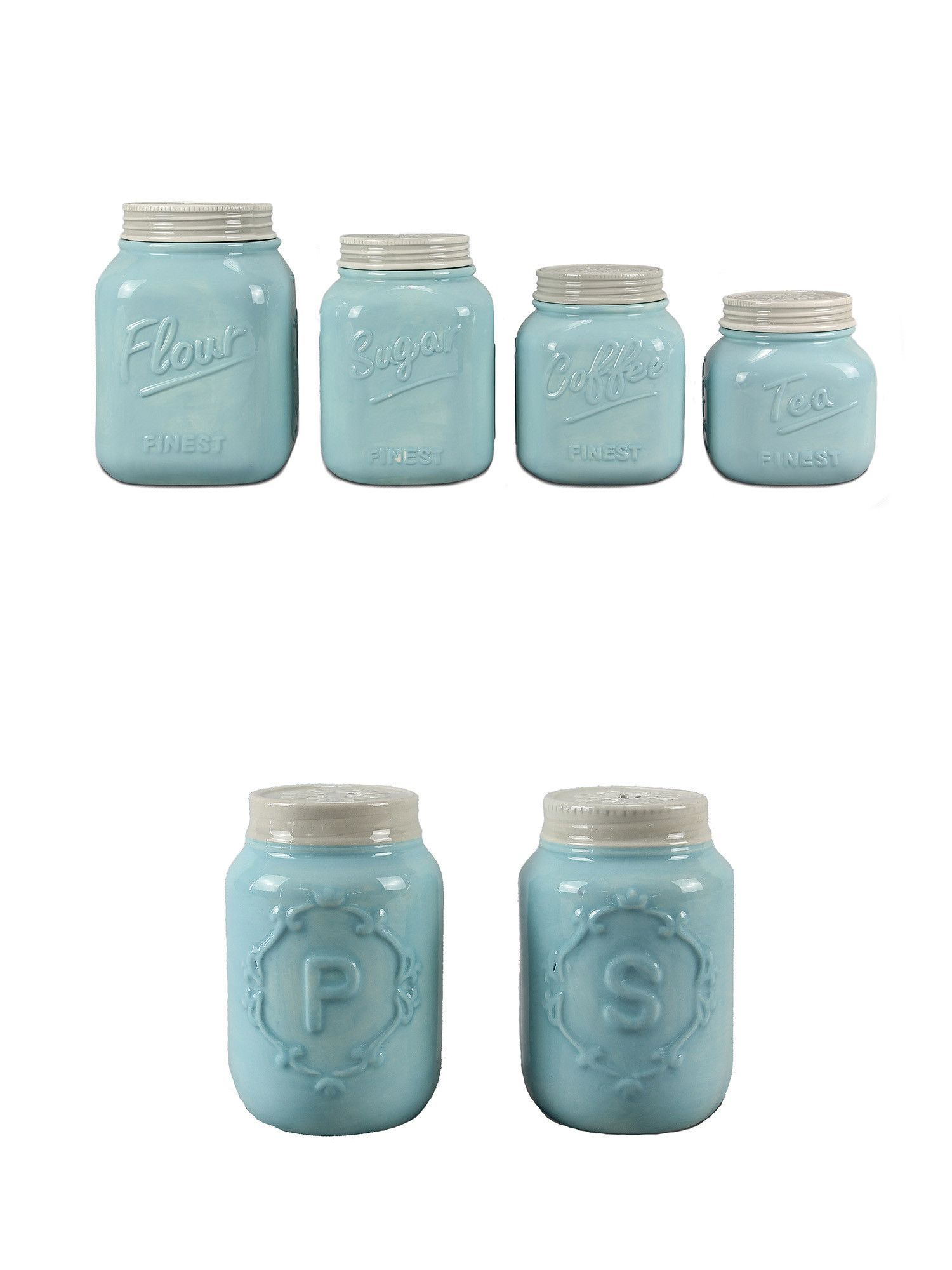 These blue kitchen canister (set of 4) and Set of blue salt ...