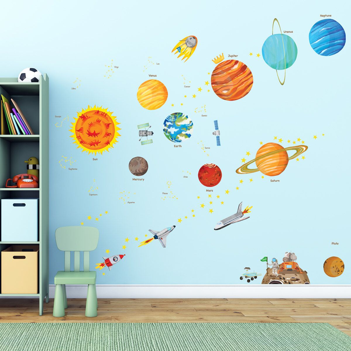 Decowall DA-1501 The Solar System Wall Stickers Decals Children Room KID Large