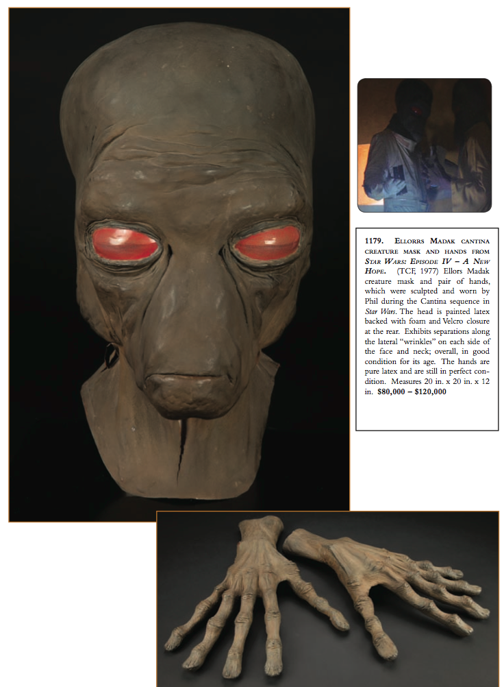 Original Cantina Alien (Duros) head and hands (Star Wars Episode IV - A New Hope)