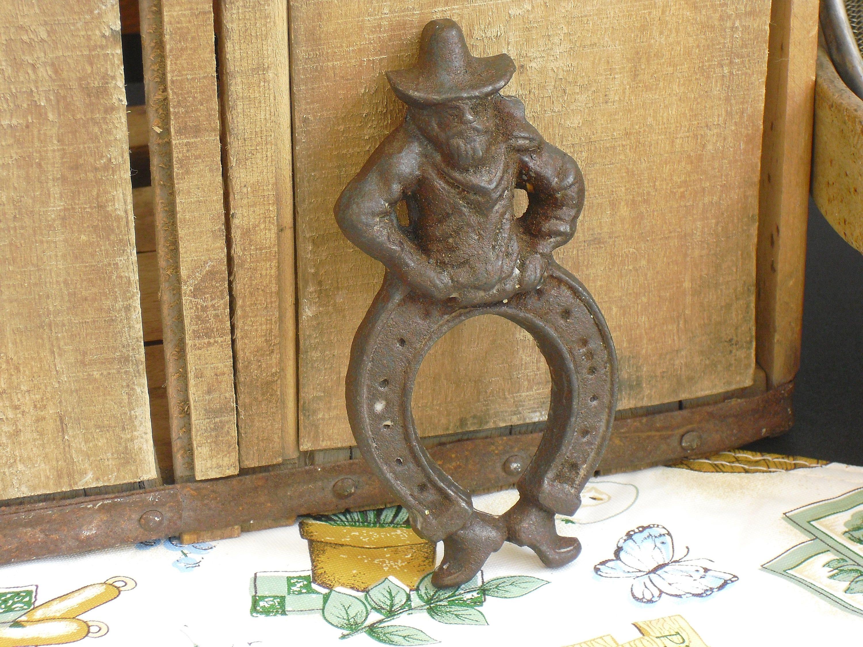 Sold vintage cast iron gold prospector miner figure horseshoe vintage cast iron gold prospector miner figure horseshoe good luck piece wall amipublicfo Images