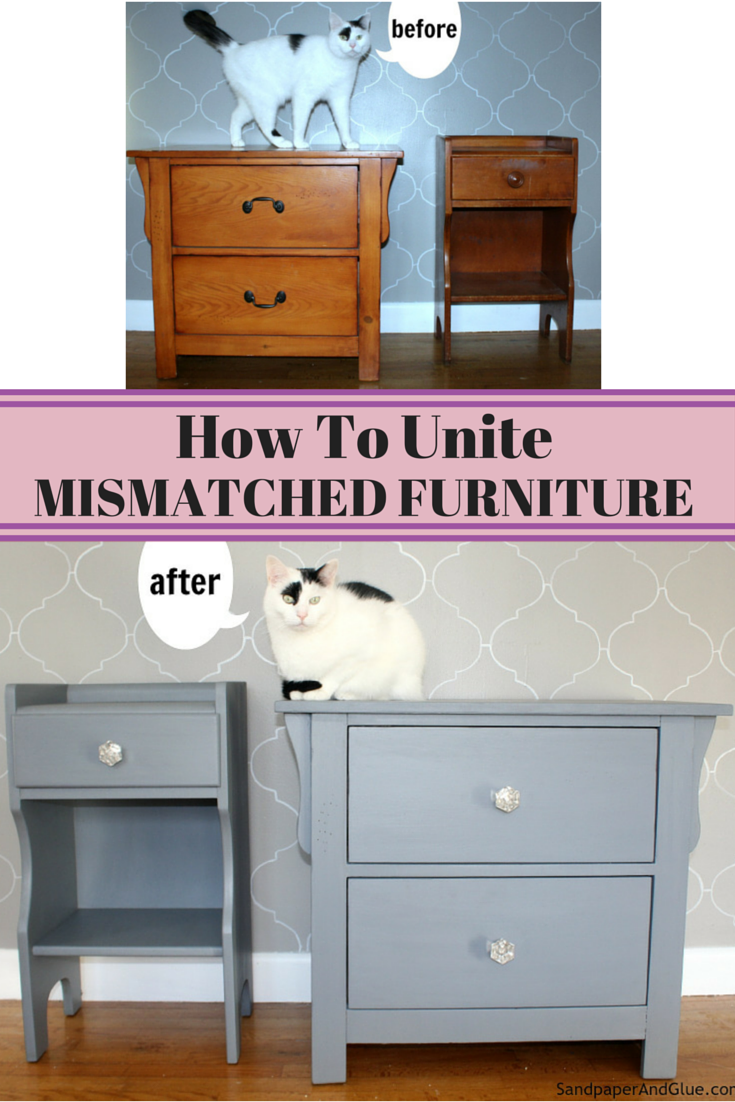 transformed mismatched furniture pieces into a cohesive