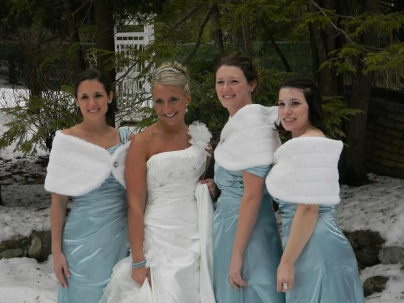 Bridesmaids Dresses With Matching Shrugs Great Addition For Your Winter Wedding