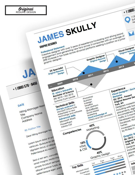 james skully infographic resume with infographics and matching cover letter template for