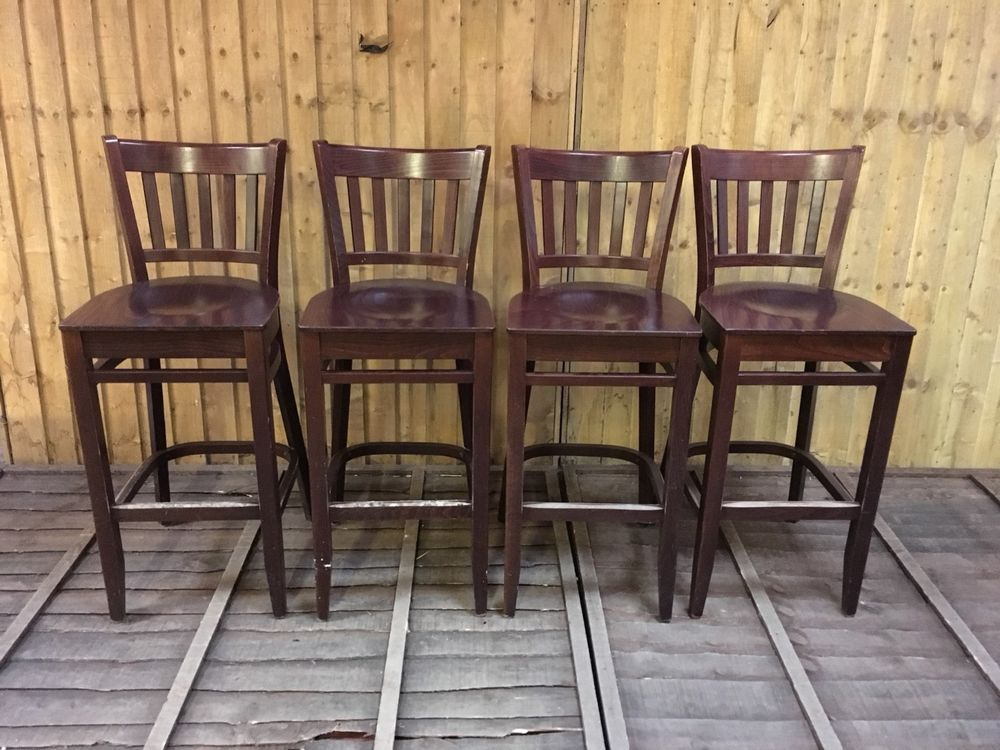 Phenomenal Set Of 4 Solid Wood Bar Stools Dark Wood Wooden Seat Squirreltailoven Fun Painted Chair Ideas Images Squirreltailovenorg