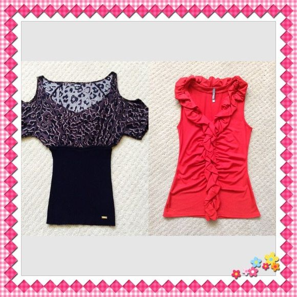 BUNDLED  BUNDLED  Guess ( brown & black ) and Charlotte Russe ( red ) tops Both Small size✨ In like new condition ✨ NO TRADE Guess Tops