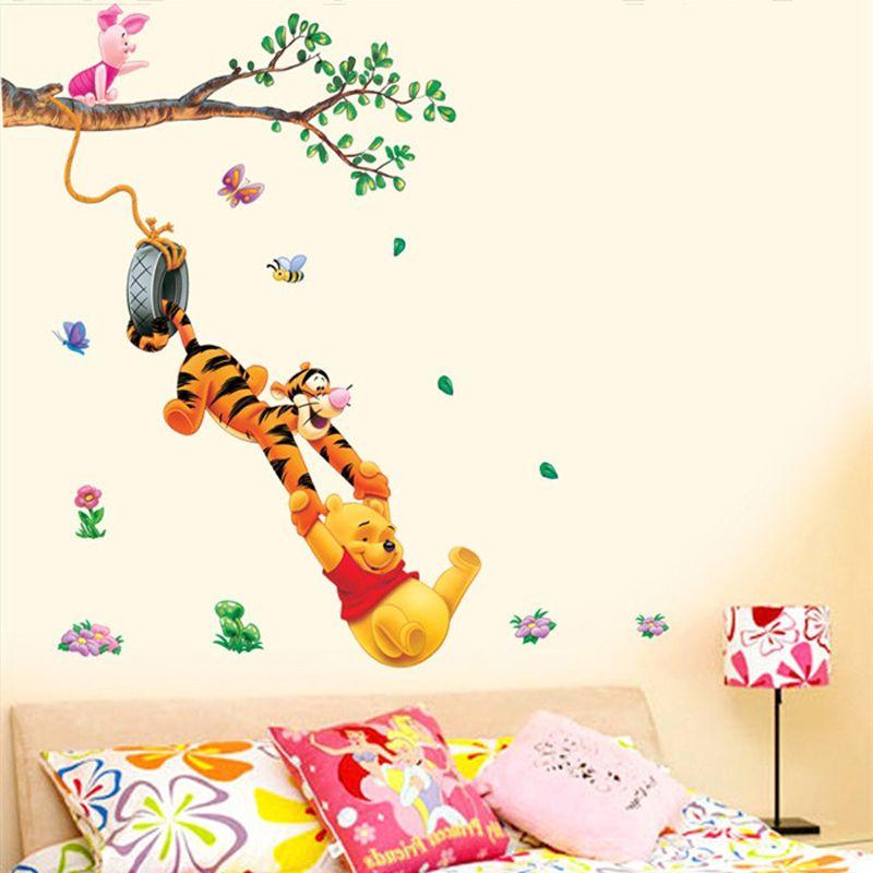 Pas cher Pooh arbre Animal de Bande Dessinée Vinyle stickers Muraux