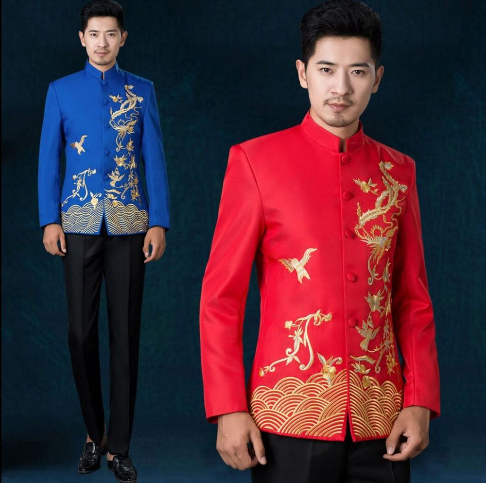 2016 New stand collar embroidery chinese tunic suit men blue and ...