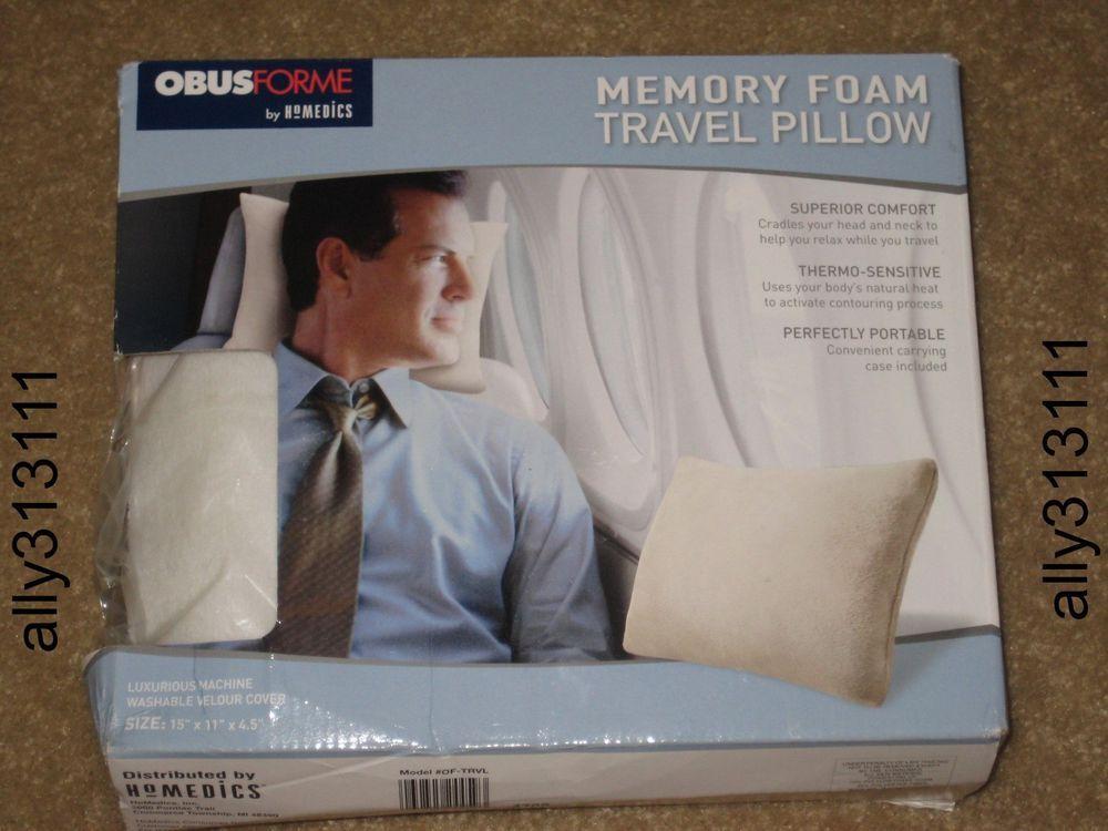 Homedics Memory Foam Travel Pillow, Machine Washable Velour Cover #ObusFormeByHomedics