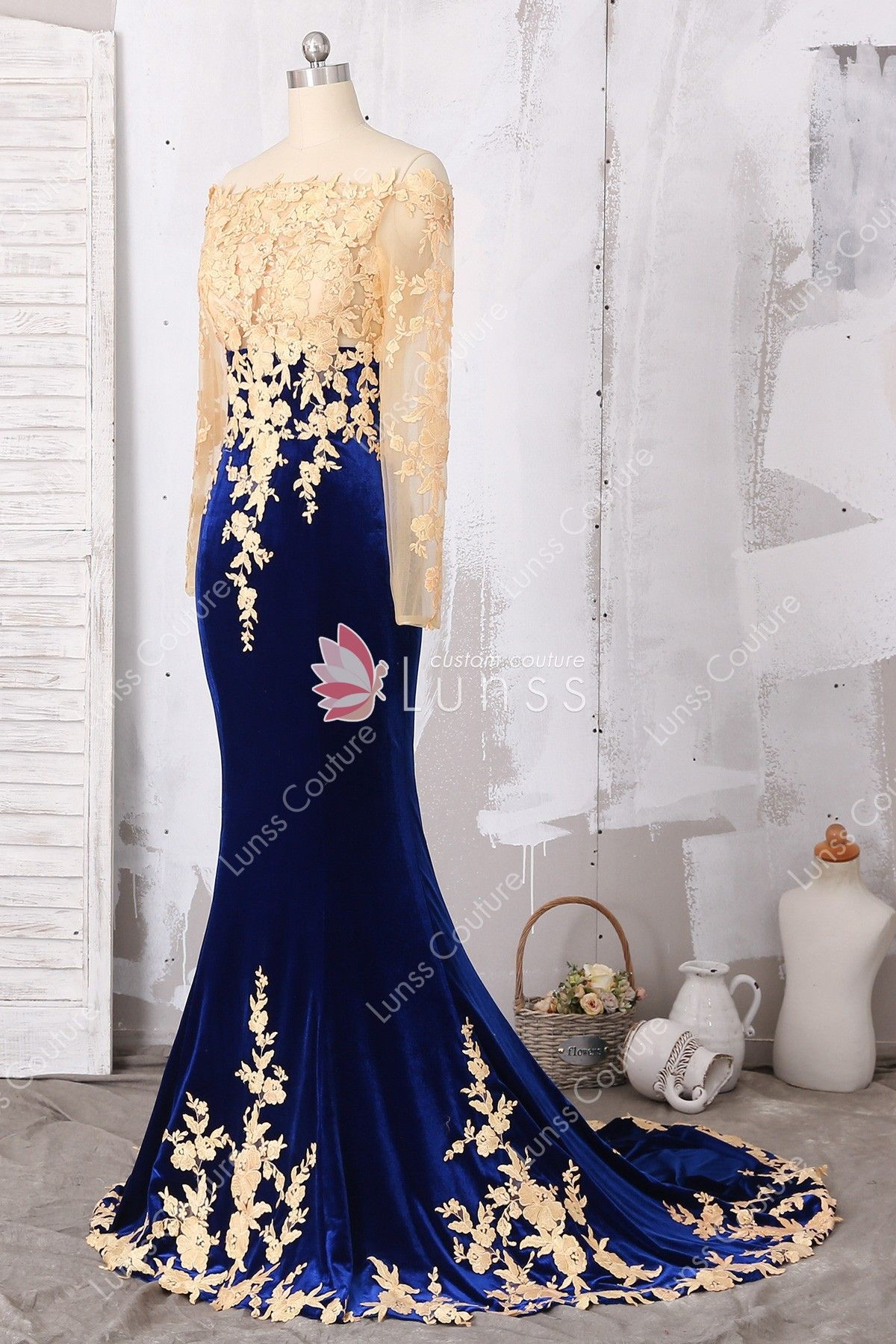 Gold lace appliqued illusion long sleeve fitnflare royal blue