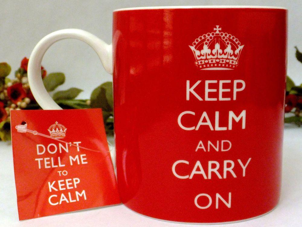 Kent Pottery Coffee Mug Keep Calm And Carry On Crown Red 12oz New Mugs Coffee Mugs Pottery