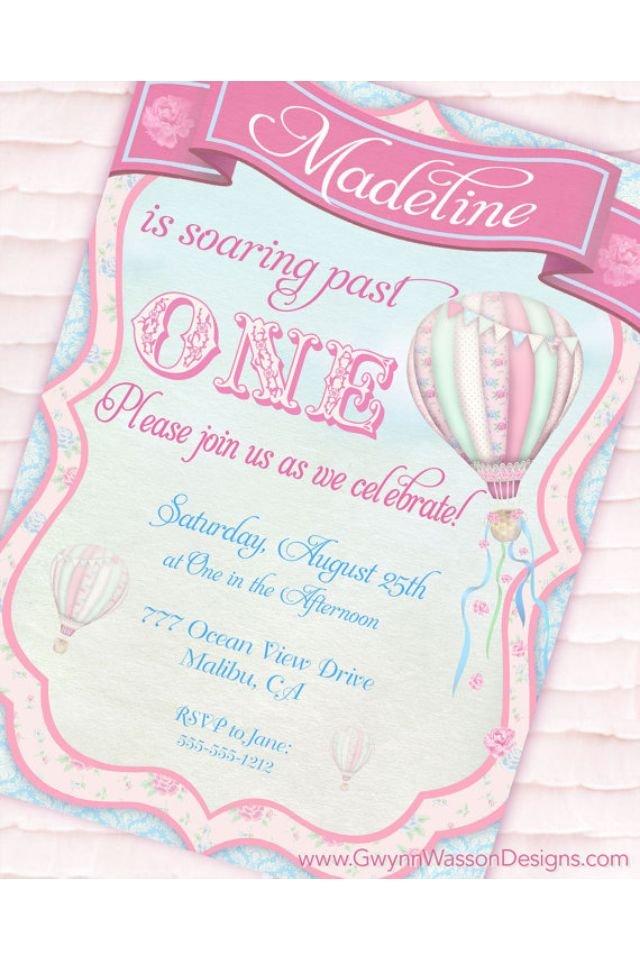 Cute bday invites party ideas pinterest hot air balloon party invitation up up and away shabby chic collection filmwisefo