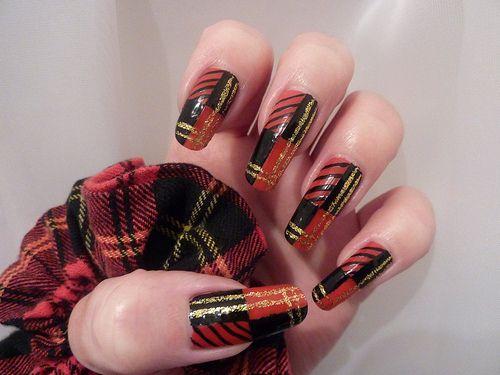 Nail art designs long nails black and red plaid is the print on nail art designs long nails black and red plaid is the print on this prinsesfo Images