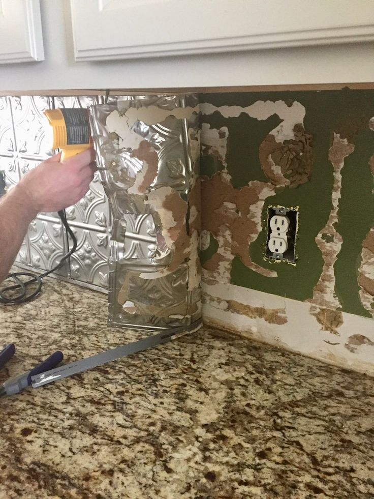 Easily remove a glued on backsplash with our step by step