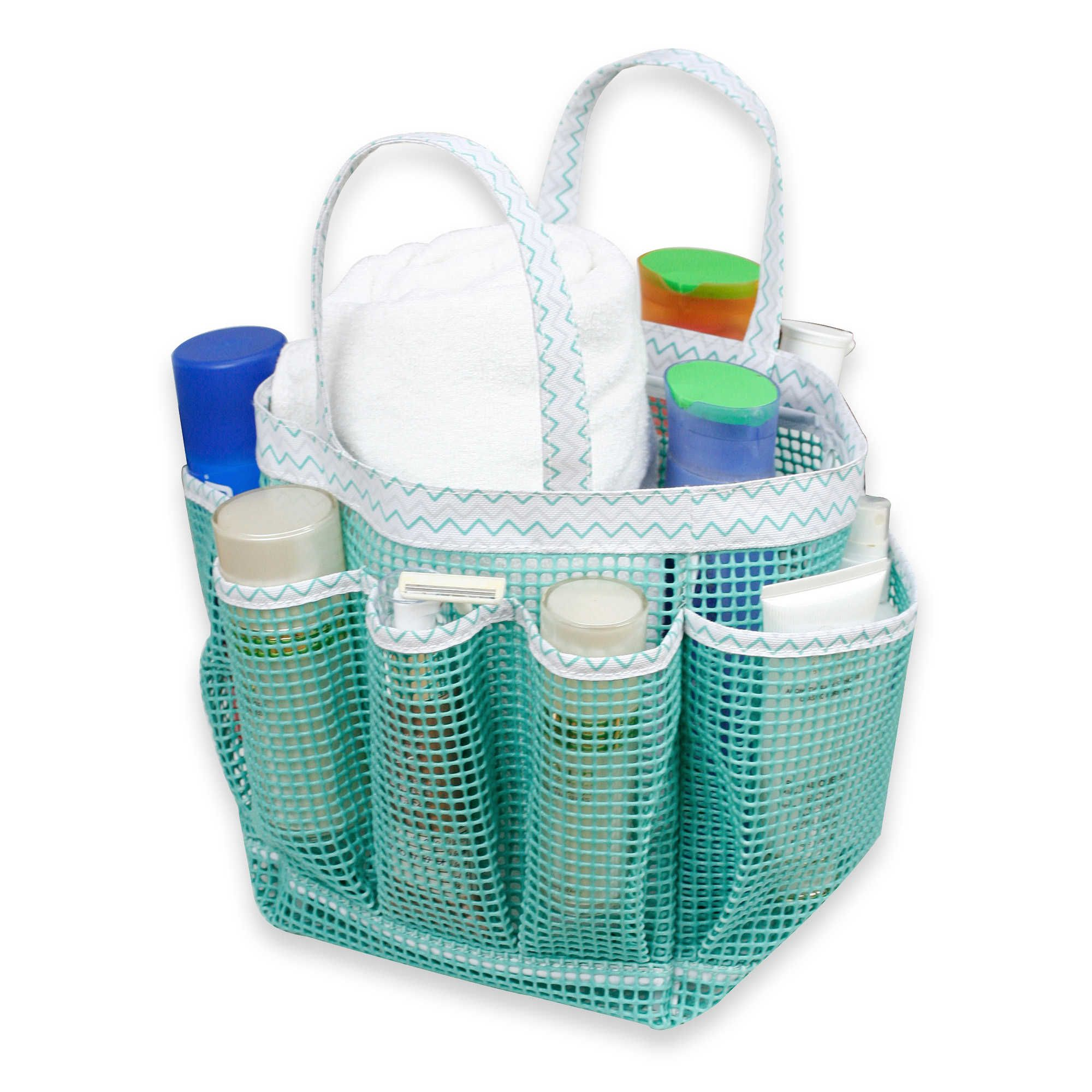Mesh Shower Tote in Teal and White- Bed Bath & Beyond | College Wish ...