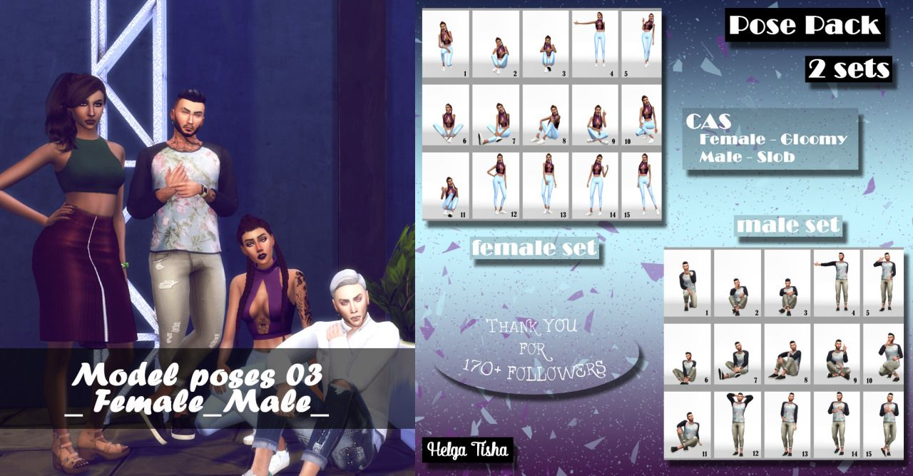 "(TS4) Model poses 03_Female_Male_ |CAS-Pose pack| Download  ⇒ SimFaleShare ""…"