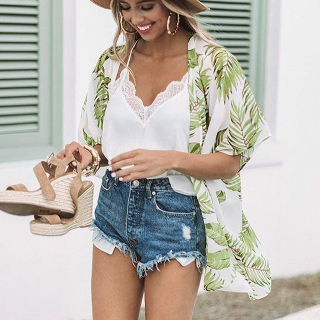 Photo of Casual Leaves Print Chiffon Beach Cover Up Cardigan, White / S – Best Picture Fo…