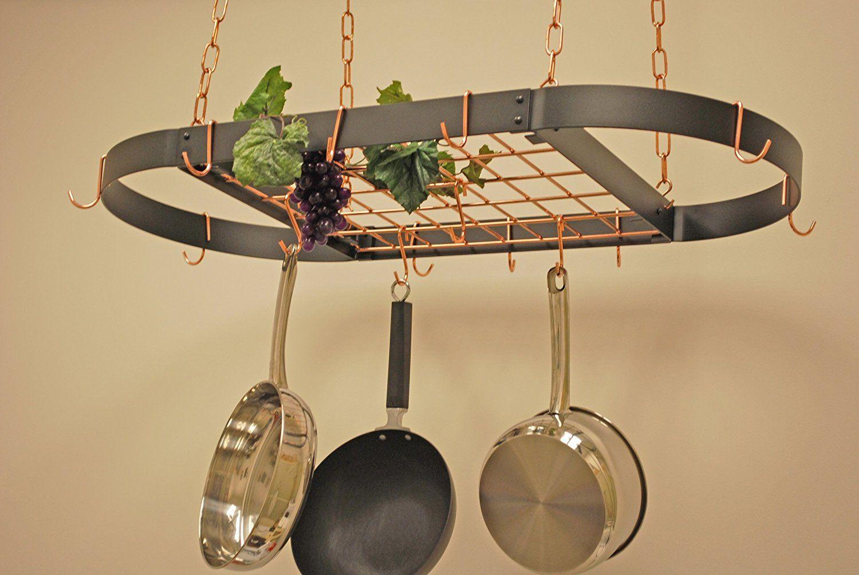 Oval Grid Pot Rack in Black w Copper Hooks - Medium >>> Discover ...
