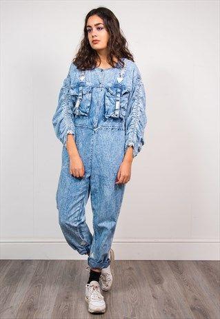 27f29daab71 Vintage 90 s Acid Wash Blue Denim Overalls Jumpsuit