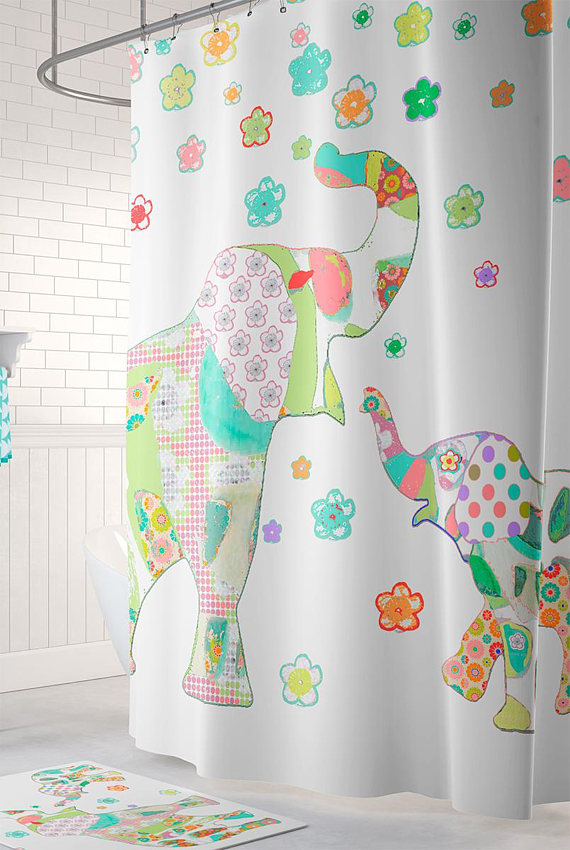 Elephant Shower Kids Shower Curtain Colorful Shower Curtains Extra