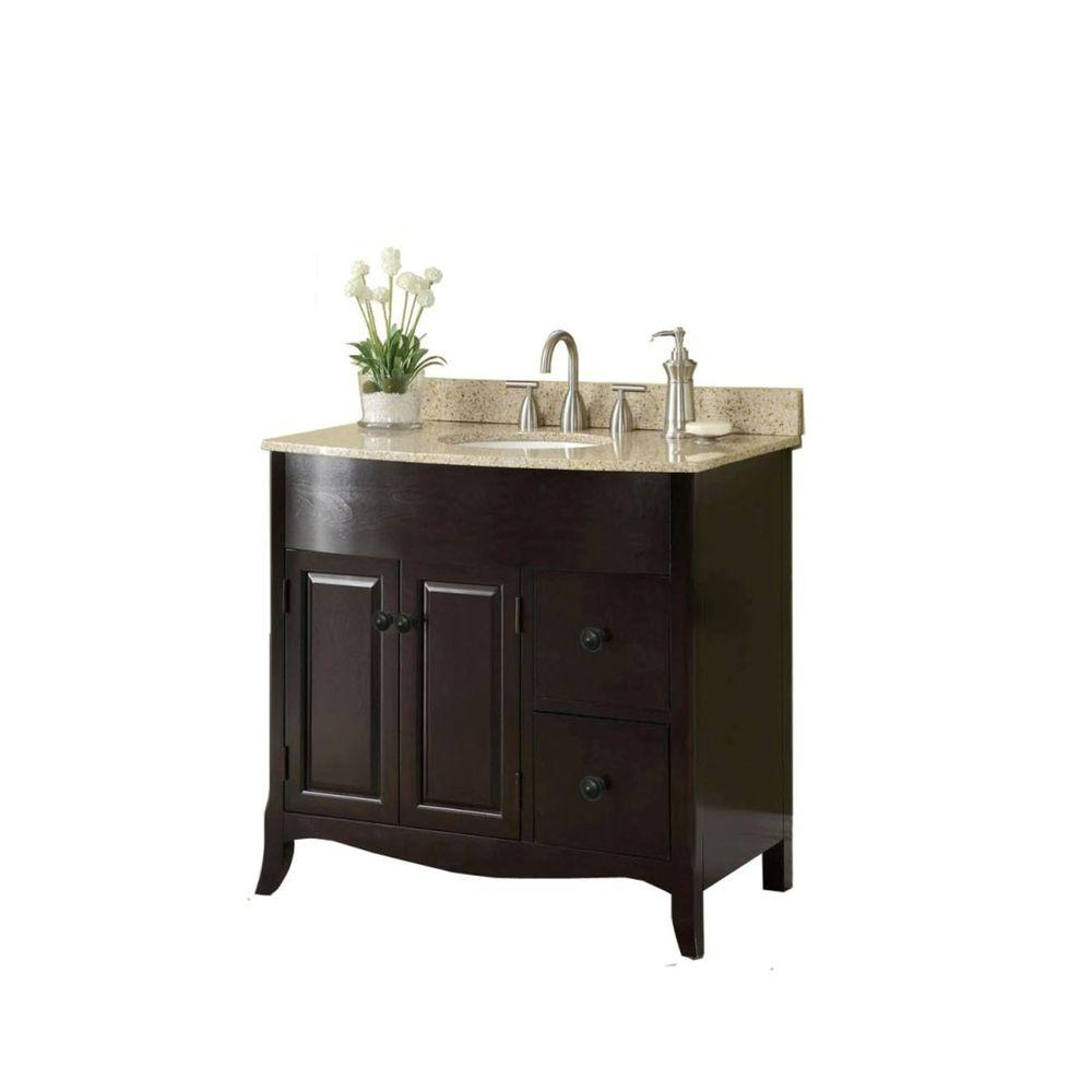 Home Decorators Collection 37 In W X 35 In H X 22 1 2 In D Vanity In Espresso With Granite Vanity Top In Cream With White Basin Md V1201 Granite Vanity Tops Marble Vanity