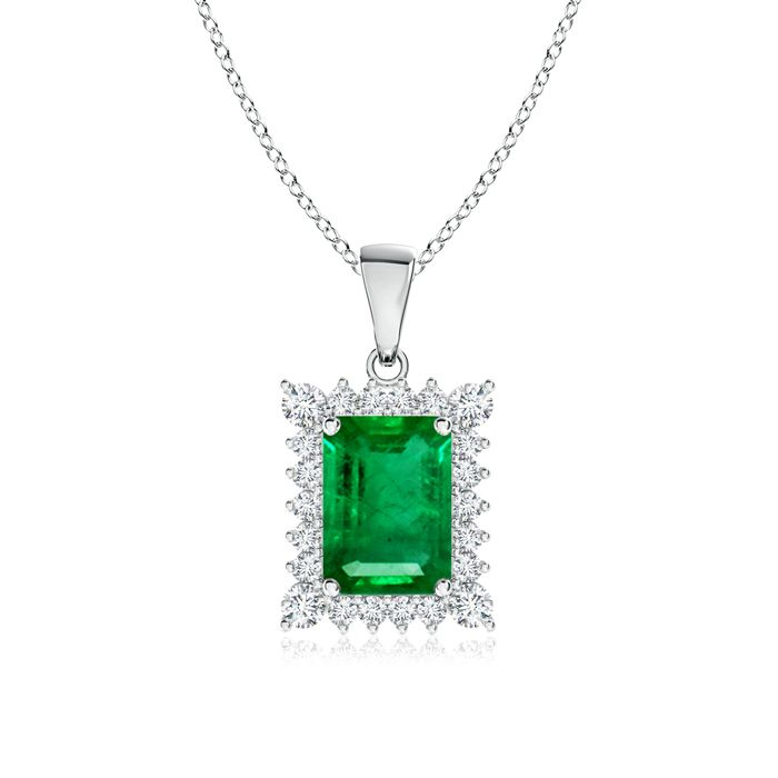 Angara Emerald Interlocking Circle Necklace with Diamond Accents
