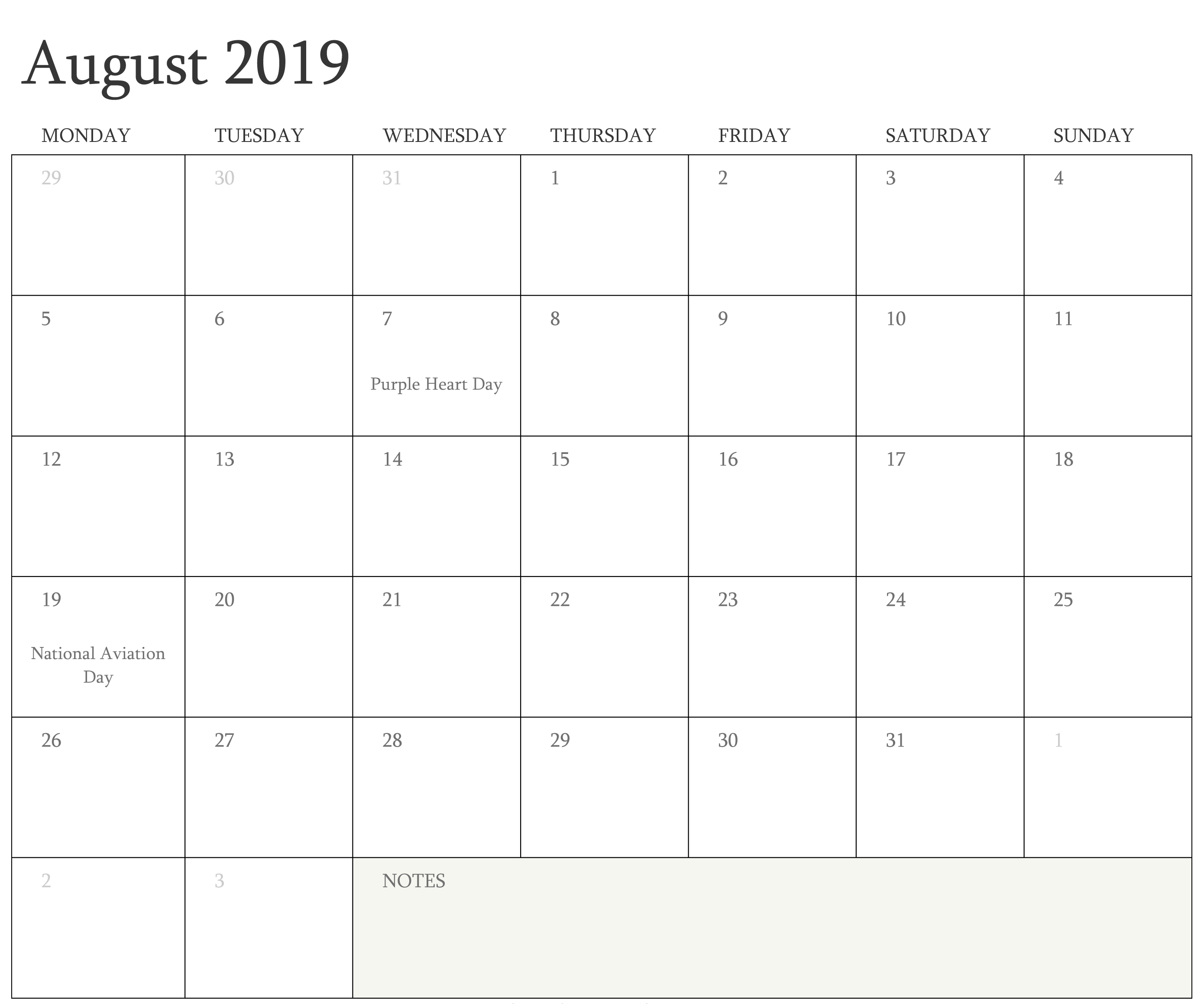 August Calendar With Holidays Printable Template