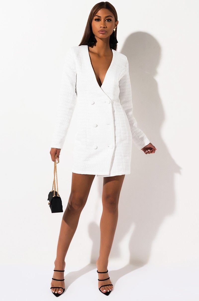 Akira Label Long Sleeve Button Front Croc Embossed Blazer Dress In White Blazer Dress White Dress Dresses [ 1209 x 800 Pixel ]