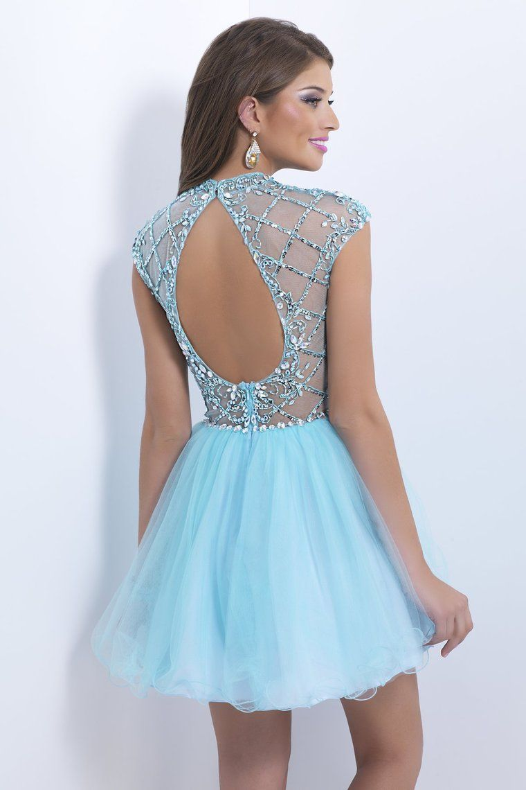 2014 High Neck A Line Prom Dress Short/Mini With Open Oval Back ...