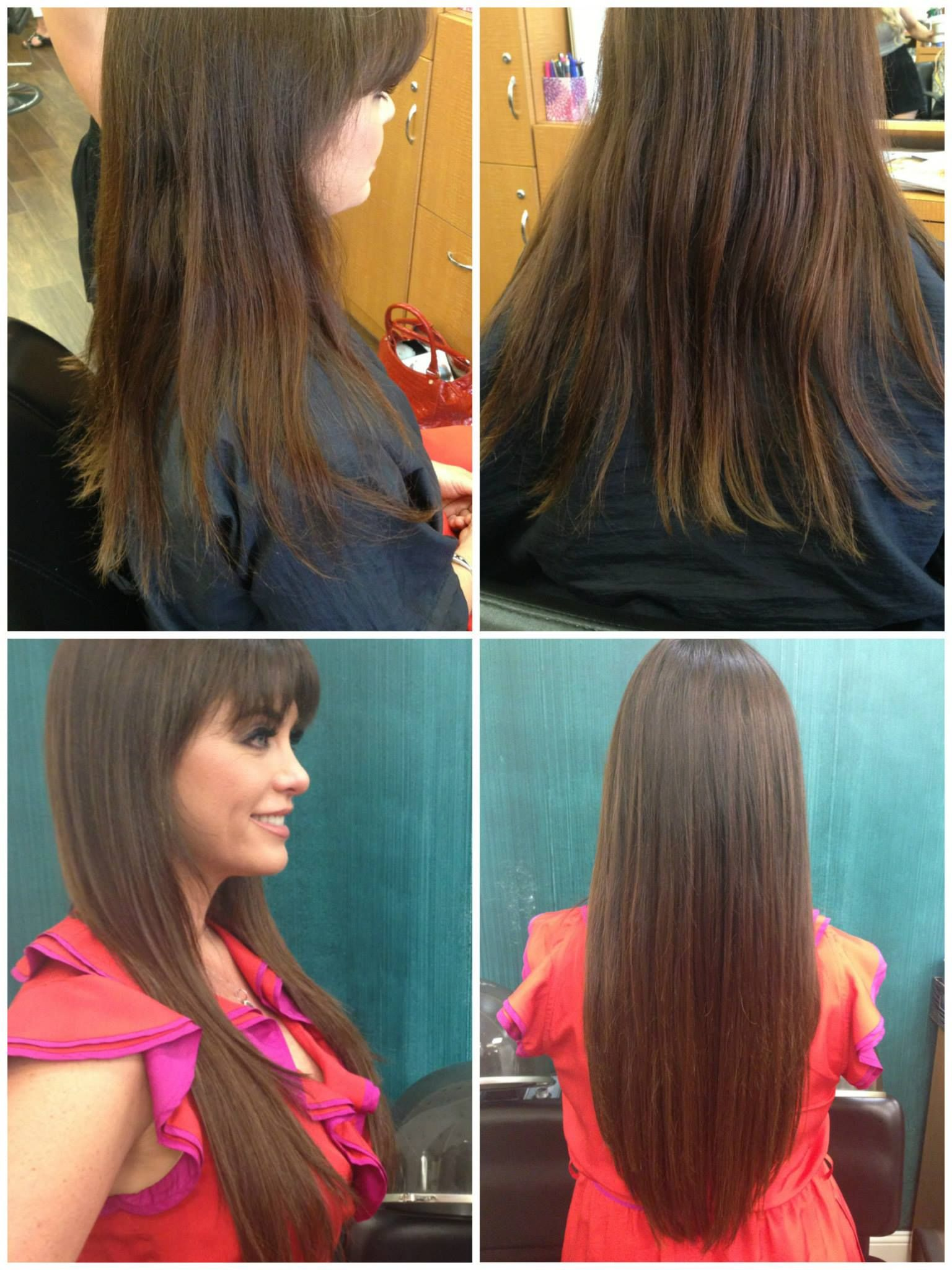 Before And After Hair Extensions On Dandra Simmons Using The Tape