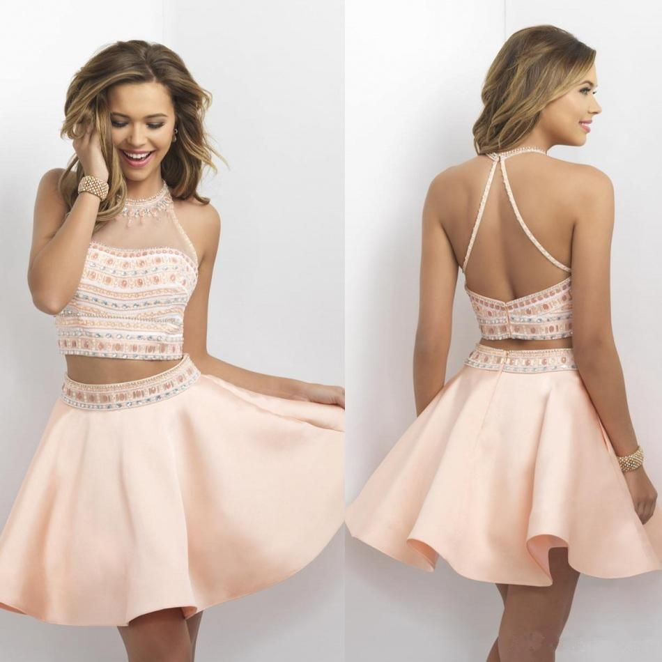 2016 New Blush Two Pieces Homecoming Dresses Halter Neck Sheer