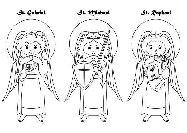 Three Archangels All Saints Day Coloring Page Catholic Coloring