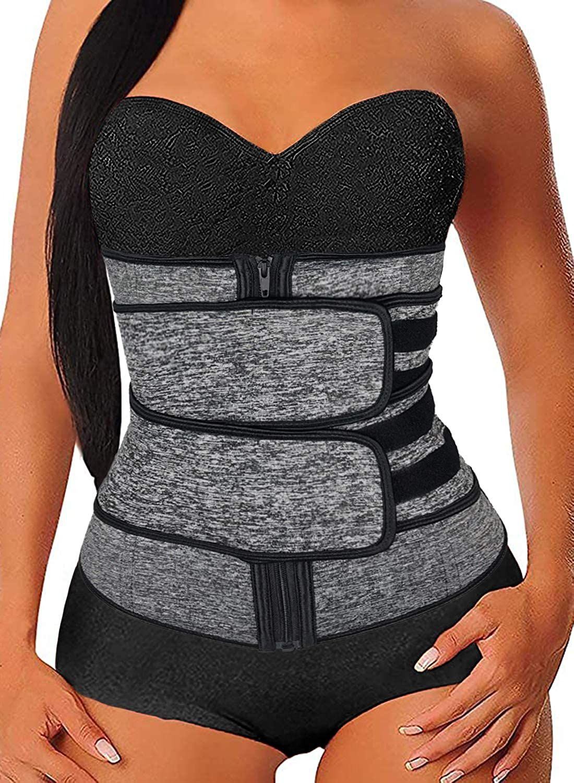 Lady Sweat Weight Loss Workout Waist Trainer Corset Trimmer Zip Belt Body Shaper