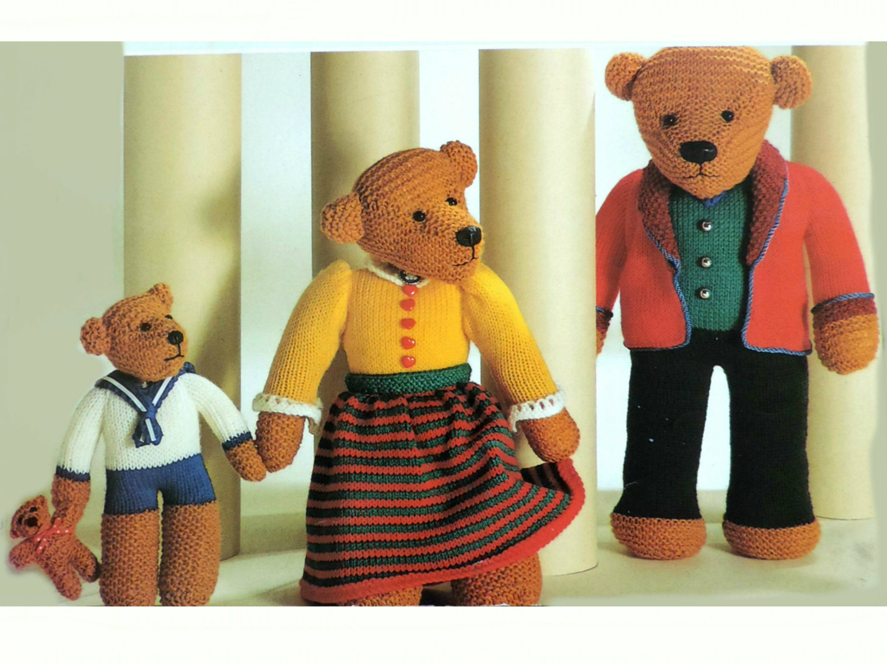 The Three Bears Toys Knitting Pattern Pdf Family Of Teddy Etsy In 2020 Double Knitting Patterns Teddy Bear Knitting Pattern Bear Toy
