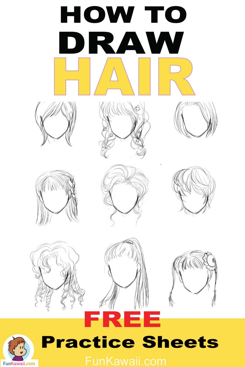 How to draw hair anime women free printable practice