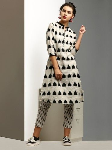 0262f5b86dc11c Abof Black And White Cotton Printed Kurti With Trouser And Casual Shoes