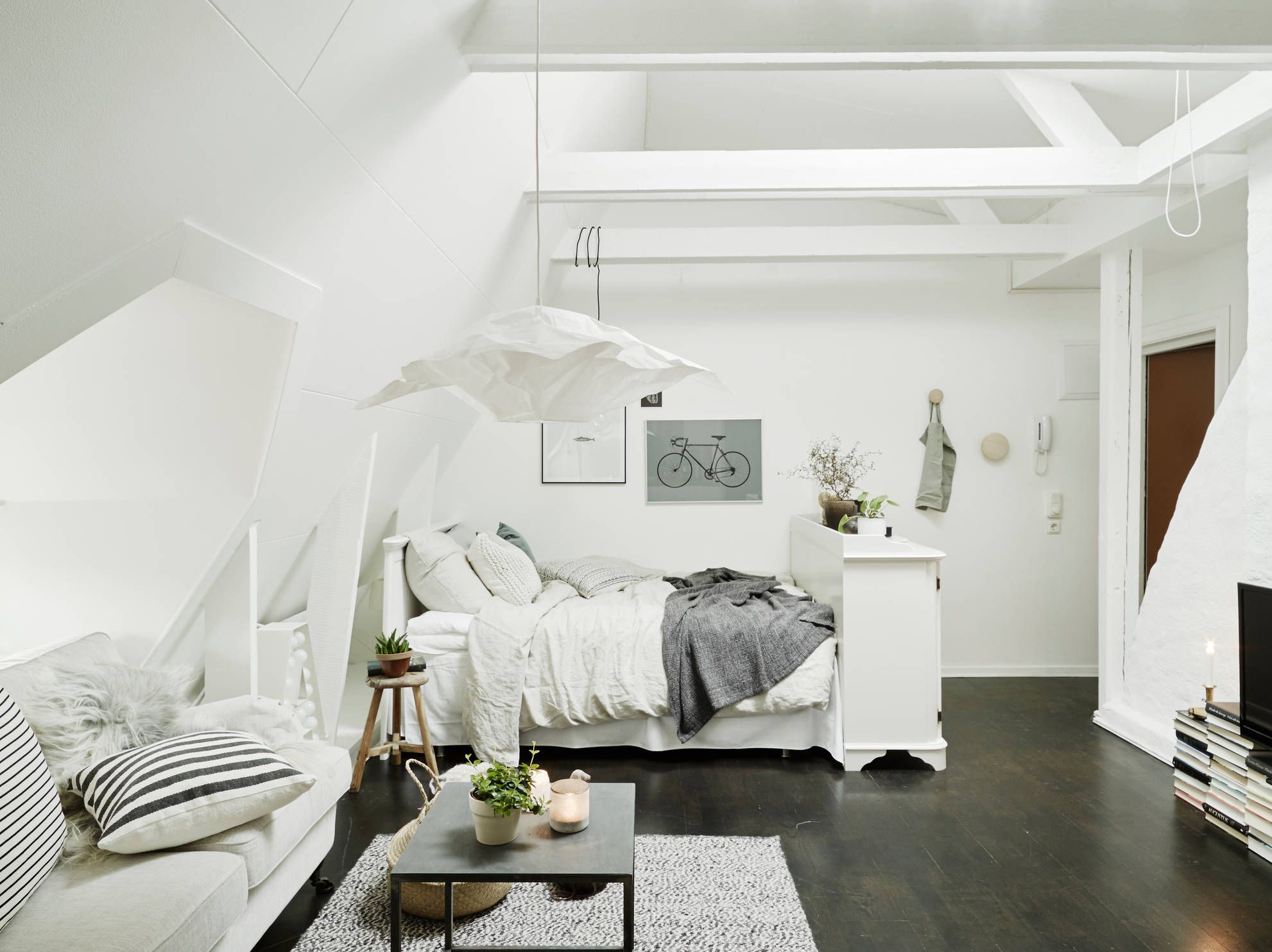 All In One Apartment Full Of Sophistication And Knockout Appeal Bedroom Interior Attic Apartment Attic Rooms