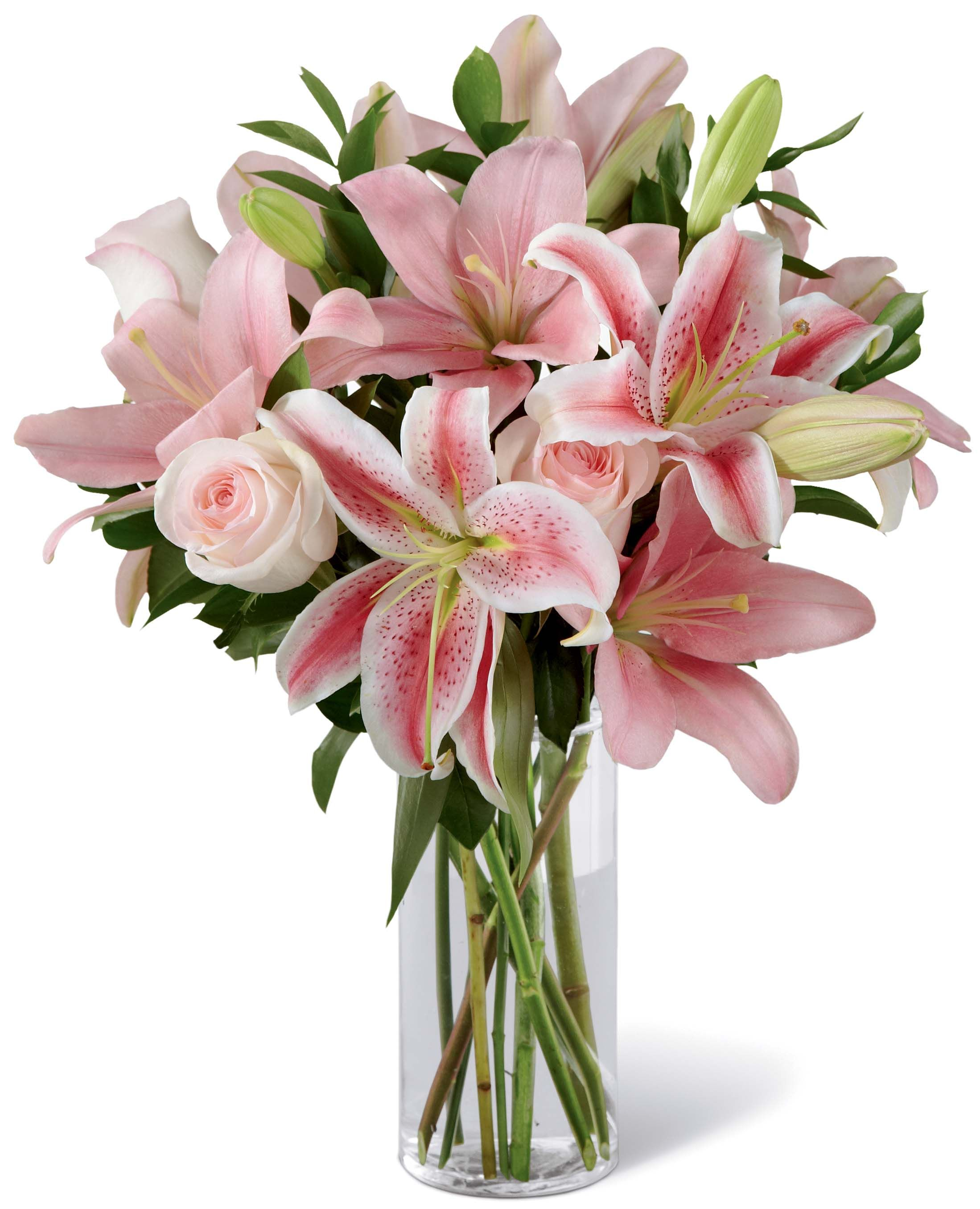 This bundle of pink Lilies(and Roses!) make for an
