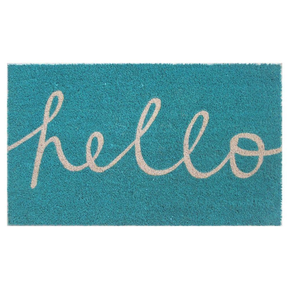 """Room Essentials Hello Cursive Doormat - Blue (1'6""""x2'6""""), Teal Blue"""