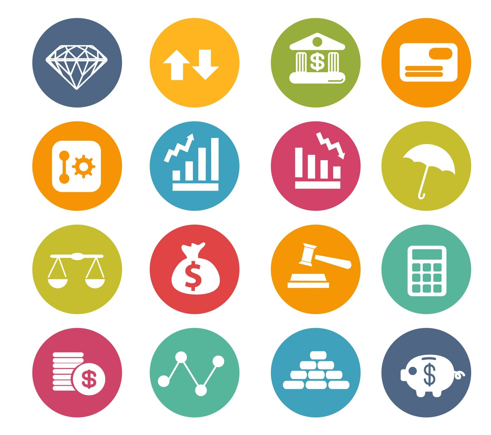 free vector Finance icons circle series Finance icons