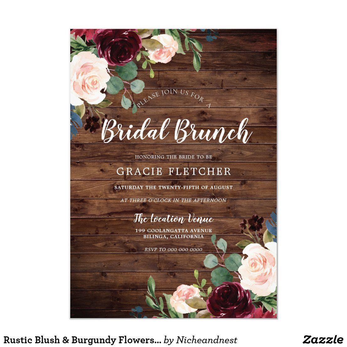 Rustic Blush & Burgundy Flowers Bridal Shower Invitation
