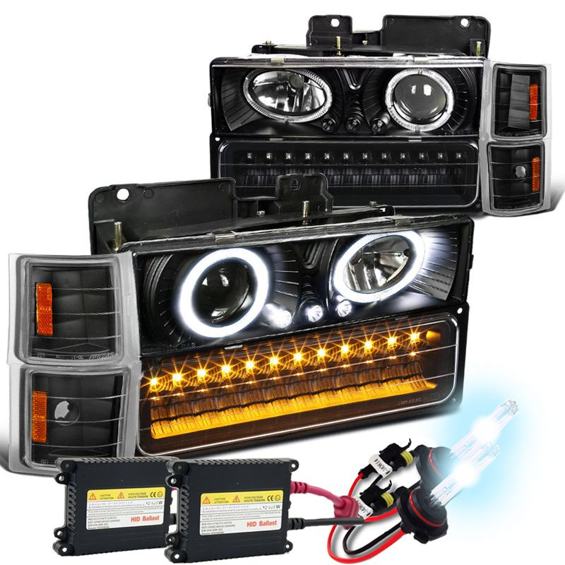 Hid Xenon 94 98 Chevy Full Size Pickup Ck C10 Halo Projector Headlights Black Chevy Chevy Tahoe Projector Headlights