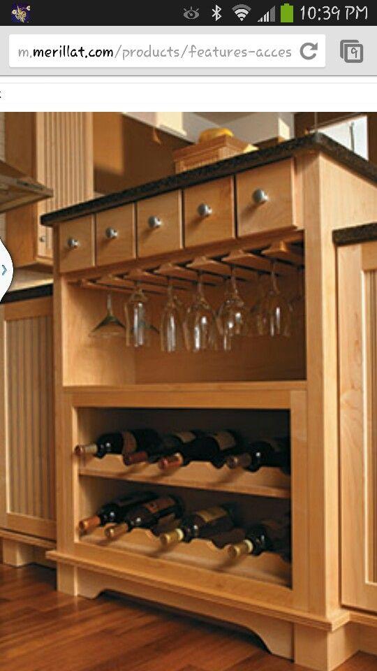 Merillat wine cabinet | Custom kitchen cabinets, Kitchen ...