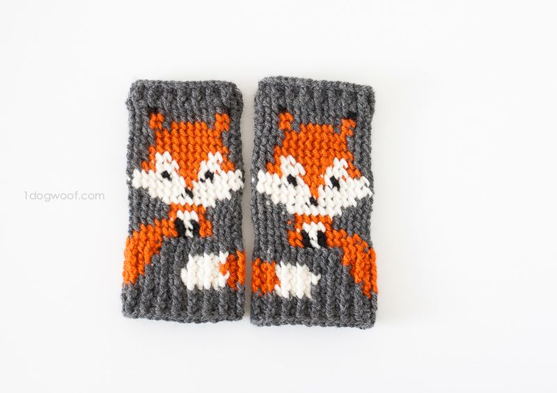 Fox Fingerless Gloves Crochet Pattern | Deberes y Patrones