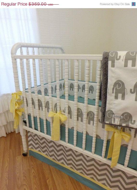 December SALE--- Baby Bedding-Made to Order-4 pc Modern Elephant Crib Bedding Set. $332.10, via Etsy.
